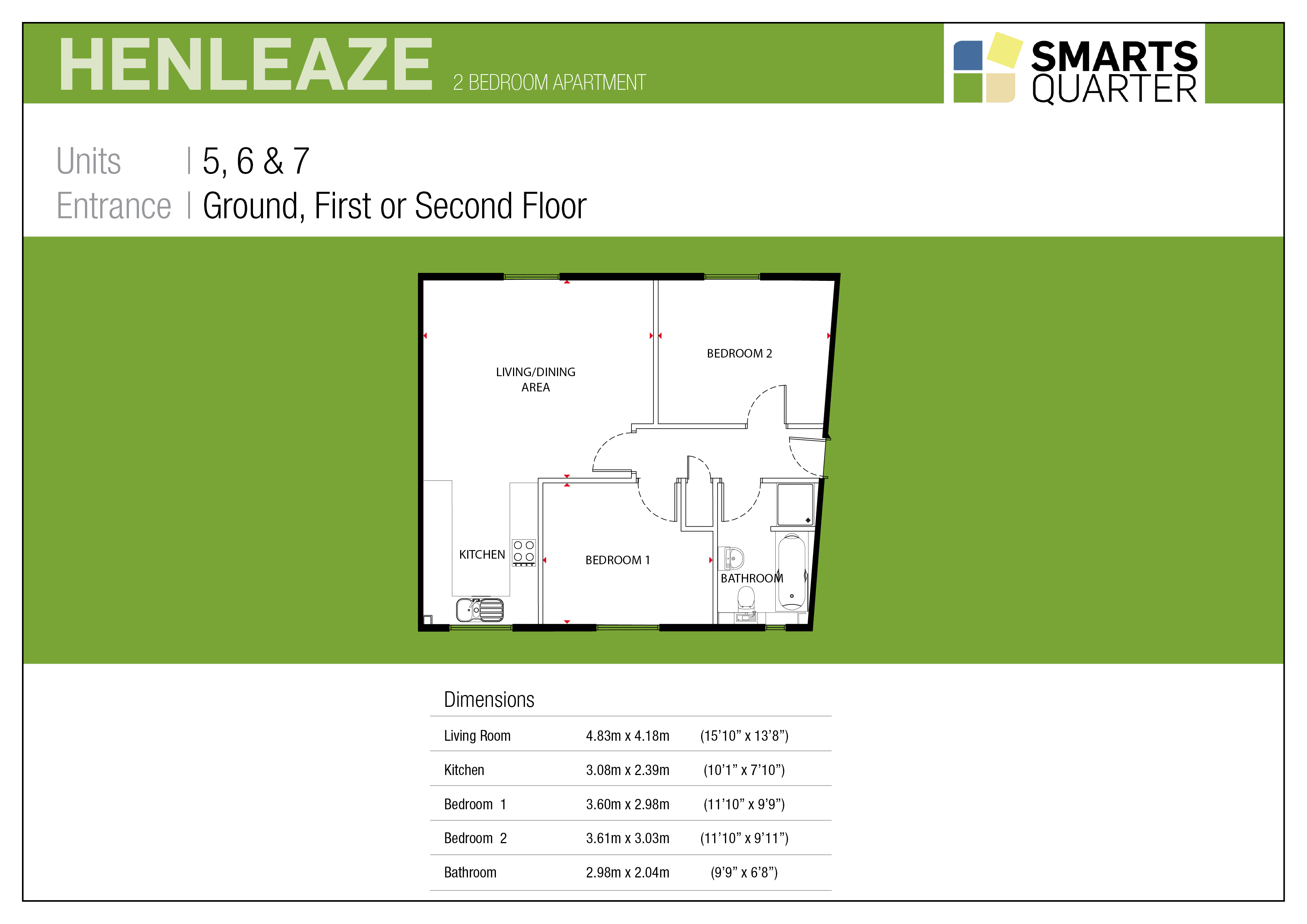 Henleaze Apartment Floor Plan in the New Smarts Quarter Development Bristol